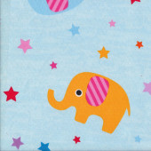 Cute Elephants Stars on Blue Kids EXTRA WIDE Quilting Fabric