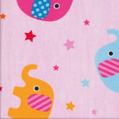 Cute Elephants Stars on Pink Kids EXTRA WIDE Quilting Fabric