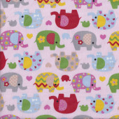 Pretty Elephants on Pink Love Hearts Flowers Quilting Fabric