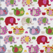 Pretty Elephants on White Love Hearts Flowers Quilting Fabric