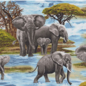 Wild Elephants in Water Trees African Safari Wildlife Quilting Fabric