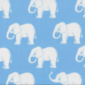 White Elephants on Pale Blue Quilt Fabric