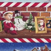 Elf on a Shelf Christmas Border Santa Snowmen Quilting Fabric