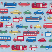 Fun Boys Emergency Cars Taxi Cabs Ambulance Bus Trucks on Light Blue Fabric