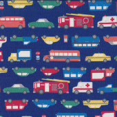 Boys Emergency Cars Taxi Ambulance Bus Trucks on Blue Fabric