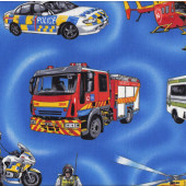 Emergency Safety Police Car Helicopter Fire Engine on Blue Quilt Fabric