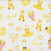 The Wiggles Emma Bow Power Ballet on White Girls Licensed Quilting Fabric