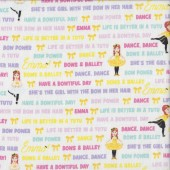 The Wiggles Emma in Tutu on White Girls Licensed Quilting Fabric