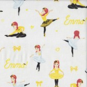 The Wiggles Emma Ballet Bows Hearts on White Girls Licensed Quilting Fabric