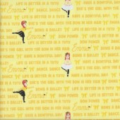 The Wiggles Emma in Tutu on Yellow Girls Licensed Quilting Fabric