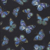 Beautiful Butterflies with Metallic Gold on Black Quilting Fabric