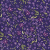 Enchanted Flowers on Purple Quilting Fabric