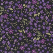 Enchanted Purple Flowers on Black quilting Fabric