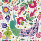 Enchanted Garden Peacock Flowers Girls on White Quilt Fabric