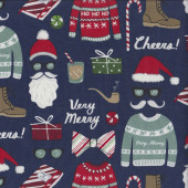 Fa La La Christmas Sweaters on Navy Moustache Santas Beard Quilting Fabric