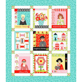 Fab Friend'zy Flowers Houses Sewing Reels Ladies Quilting Fabric Panel