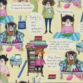 Fifis Follies Fun Fabric Verses on Yellow Quilting Fabric