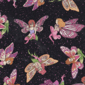 Fairies With Butterfly Wings on Black Fairy Girls Quilt Fabric