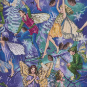 Fairies Elves on Purple Quilting Fabric