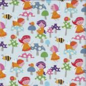 Fairy Garden Girls Mushrooms Ladybirds Bees Quilting Fabric