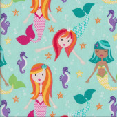 Mermaids Fairy Tails on Aqua Seahorses Quilting Fabric
