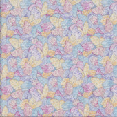 Fairy Wings Pink Blue with Metallic Silver Girls Quilting Fabric