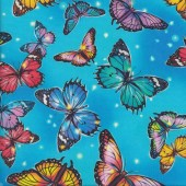 Beautiful Butterflies on Blue Fantastic Forest Insect Quilting Fabric