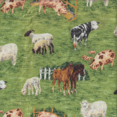 Farm Animals Cows Pigs Sheep Horses on Green Quilting Fabric