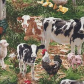 Cows Chickens Pigs Sheep Farmyard Animals Quilting Fabric