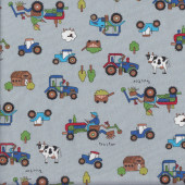 Farmer on Tractor on Grey Sheep Cows Country Quilting Fabric