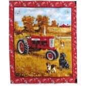 Farmall Tractor Farm Country Beagle Labrador Quilting Fabric Panel