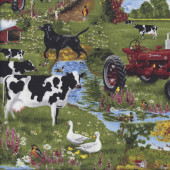 Farmall Tractors Farmyard Animals Cows Chickens Quilting Fabric