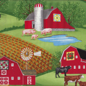 Farmyard Barns Hay Crops Country Cows Sheep Pigs Quilting Fabric