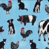 Animals on Blue Quilting Fabric