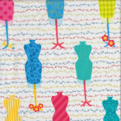Fashion Funway Sewing Mannequins Squiggles on White Quilting Fabric