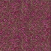 Cat-i-tude Feather Frolic Raspberry Metallic Gold Catitude Quilting Fabric