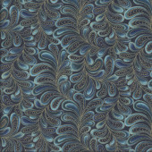 Cat-i-tude Feather Frolic Teal Metallic Gold Catitude Quilting Fabric