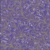 Cat-i-tude Feather Paisley Purple Metallic Gold Catitude Quilting Fabric