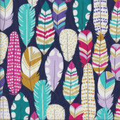 Plucked Feathers Spots on Navy Quilting Fabric