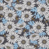 Daisies Feed The Bees on Dark Grey Flowers Quilting Fabric