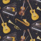 Guitar Saxophone Trumpet Grand Piano Feel the Music Quilting Fabric