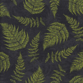 Green Fern Fronds on Black Landscape Nature Quilting Fabric