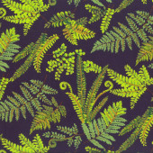 Green Ferns on Navy Fernlea Nature Landscape Quilting Fabric
