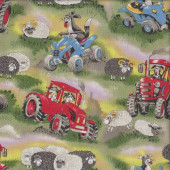 Field Days Sheep Dogs on Tractors and Motorbikes Quilting Fabric