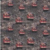 Small Fire Engines Trucks on Brown Gravel Boys Kids Quilting Fabric