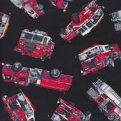 Fire Engines Trucks on Black Boys Kids Quilting Fabric