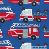 Fire Engine Trucks on Blue Boys Kids Quilt Fabric