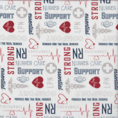 Nurses Strong Heroes on White First Responders Medical Quilting Fabric