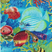 Colourful Tropical Fish Turtles Coral Ocean Quilting Fabric
