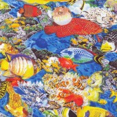 Colourful Fish Blue Quilting Fabric